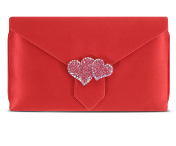 Charlie Red Hearts Silk Clutch