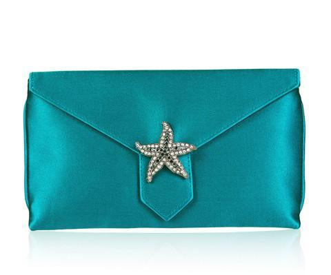 Charlie Kingfisher Blue Silk Clutch