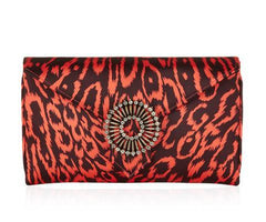 Charlie Red Leopard Clutch