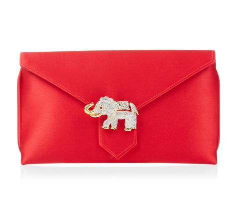 Charlie Lipstick Red Silk Clutch