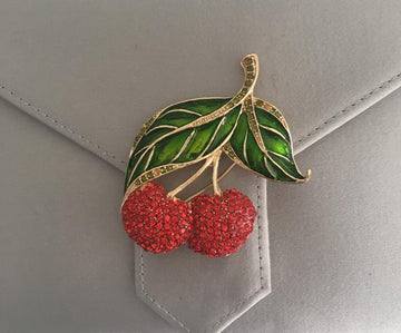 Enamel and Crystal Cherries Brooch