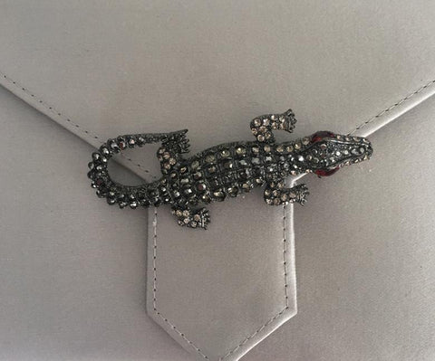 Black Diamond Crystal Crocodile Brooch