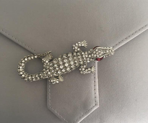 Crystal Crocodile Brooch