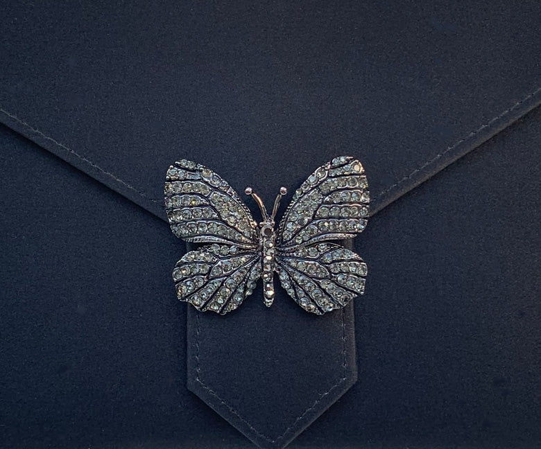 Black Diamond Butterfly Crystal Brooch