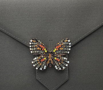 Grey and Orange Butterfly Crystal Brooch