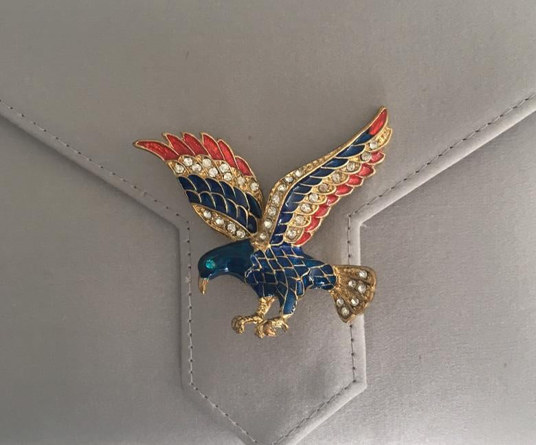 Enamel and Gold Crystal Eagle Brooch