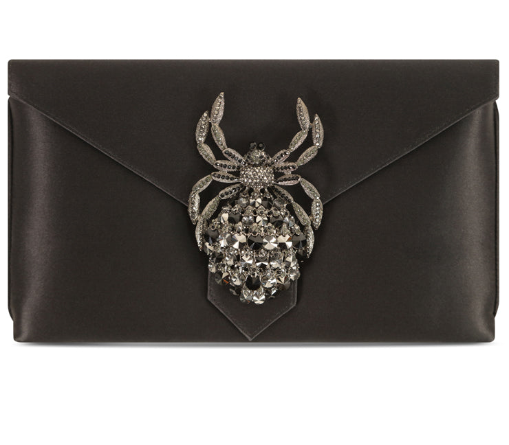 Edith Black Spider Silk Clutch