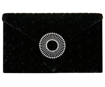 Edith Black Classic Velvet Clutch