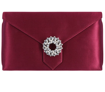 Edith Bespoke Burgundy Silk Clutch