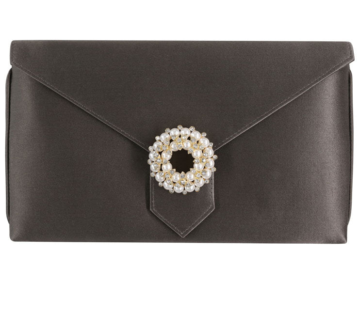Edith Bespoke Dark Grey Silk Clutch