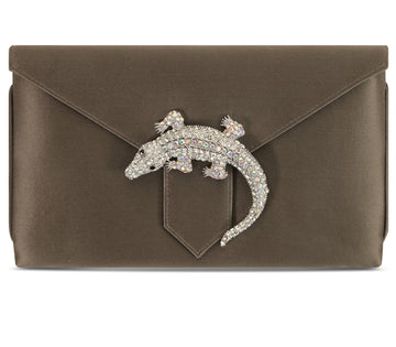 Edith Dark Grey Lizard Silk Clutch