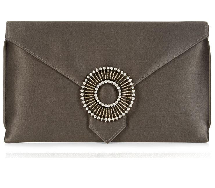 Edith Dark Grey Silk Clutch