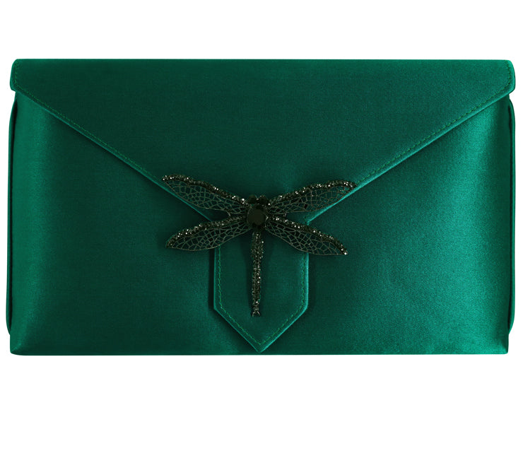 Edith Bespoke Emerald Green Silk Clutch