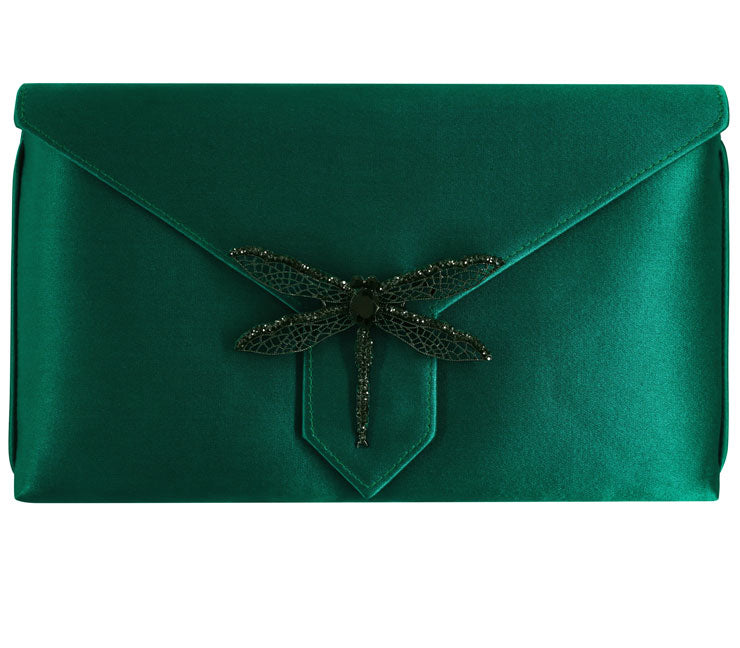 Edith Bespoke Emerald Silk Clutch