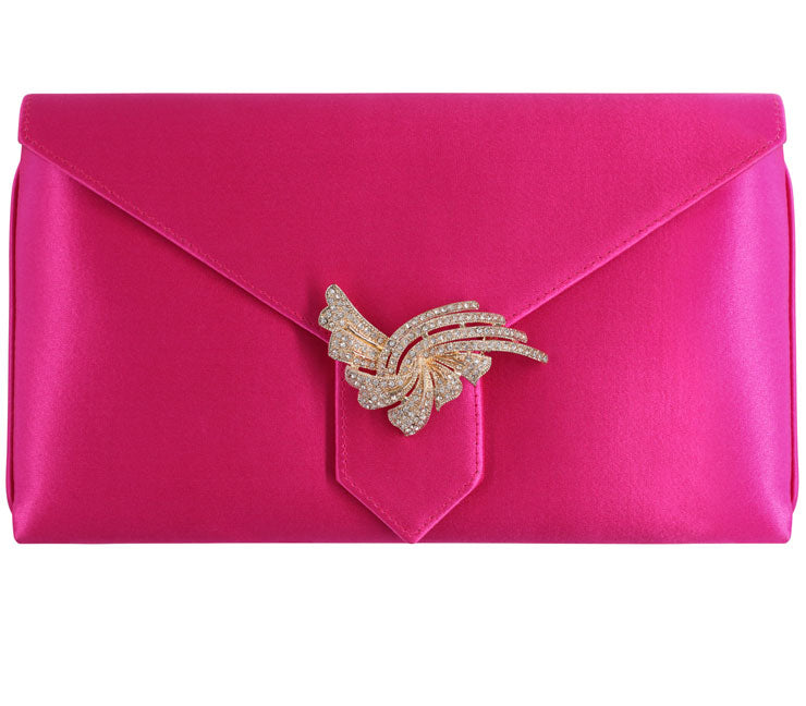 Edith Bespoke Fuchsia Silk Clutch