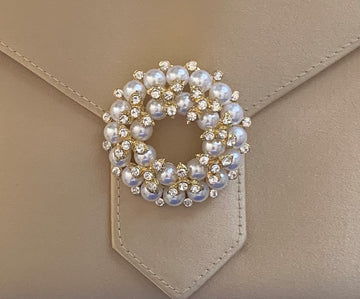 Gold Crystal and Pearl Brooch