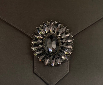 Charcoal Crystal Cluster Brooch