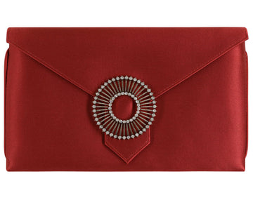 Edith Rust Red Classic Silk Clutch