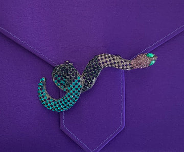 Blue Crystal Snake Brooch