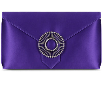 Edith Violet Classic Silk Clutch