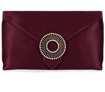 Edith Burgundy Silk Clutch