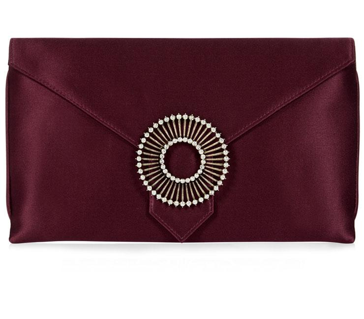 Edith Burgundy Classic Silk Clutch