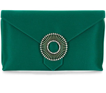 Edith Emerald Green Silk Clutch