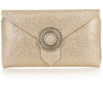 Edith Gold Glitter Classic Clutch