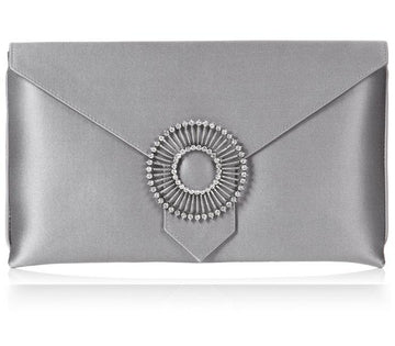 Edith Light Steel Grey Silk Clutch