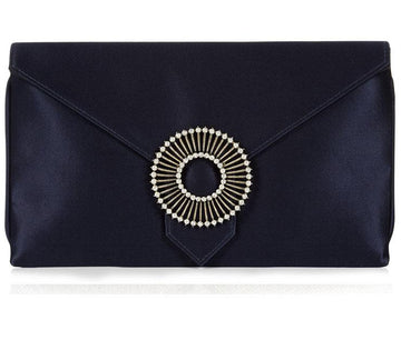 Edith Navy Blue Classic Silk Clutch