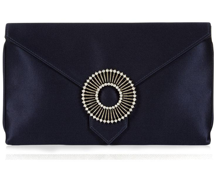 Edith Navy Blue Silk Clutch