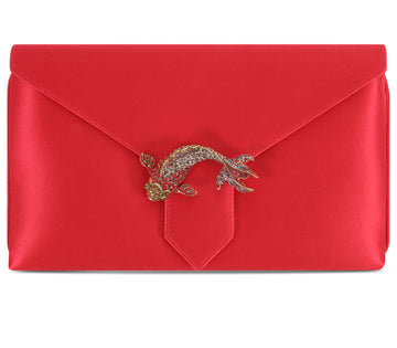 Edith Red Goldfish Silk Clutch