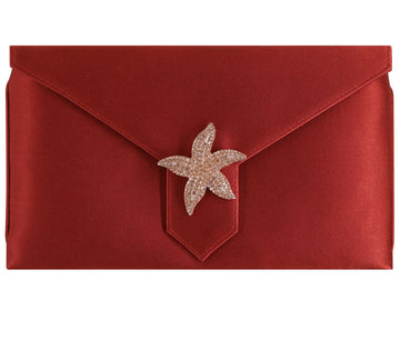 Edith Bespoke Rust Red Silk Clutch