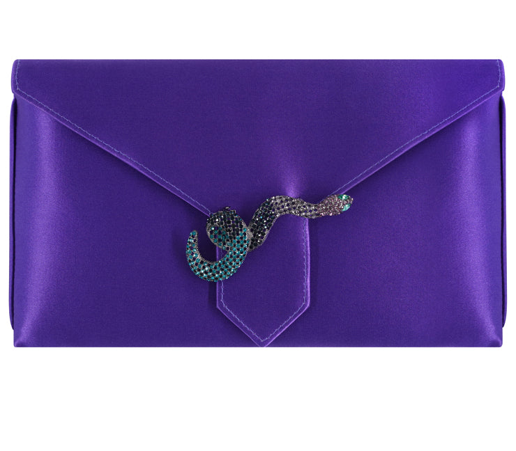 Edith Bespoke Violet Silk Clutch