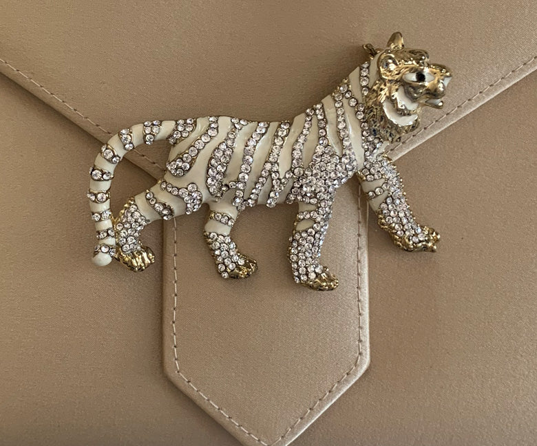 White Enamel Tiger Brooch