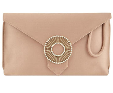 Edith Oyster Silk Clutch