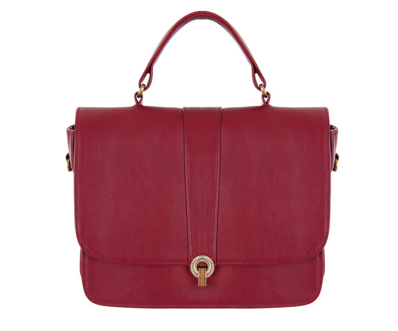 Ella Cerise Leather Shoulder Bag