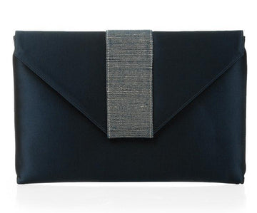 Elsa Navy Silk Clutch
