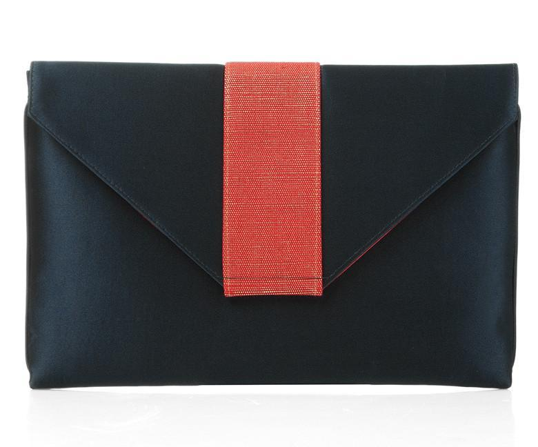 Elsa Navy Silk with Red Clutch