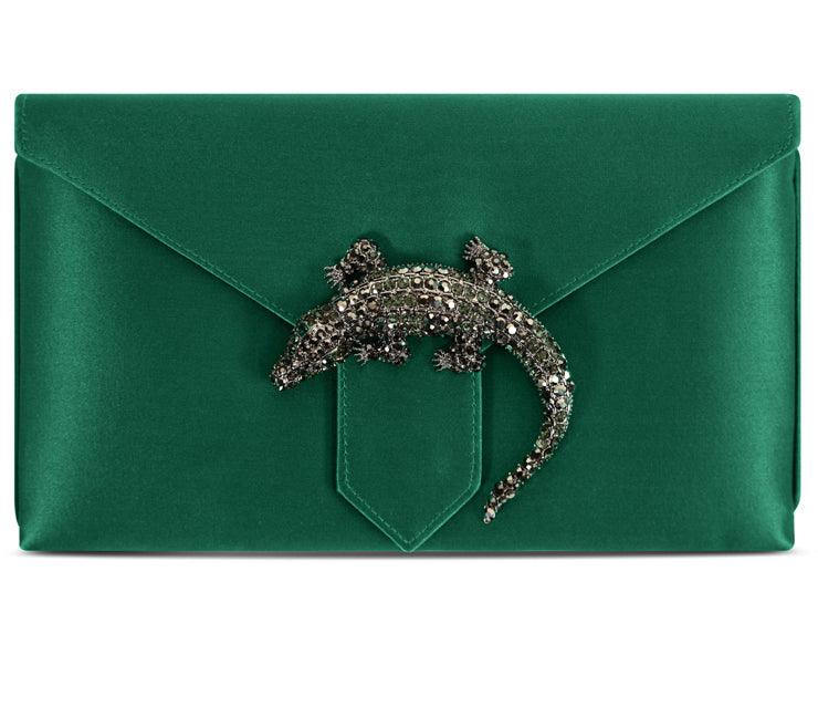 Edith Emerald Lizard Silk Clutch