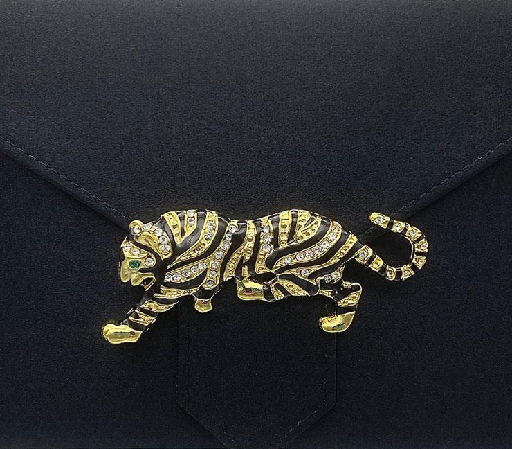 Enamel and Crystal Tiger Brooch