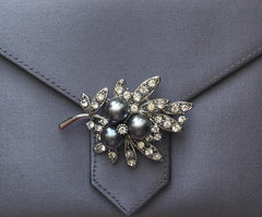 Black Pearl and Silver Crystal Flower Brooch