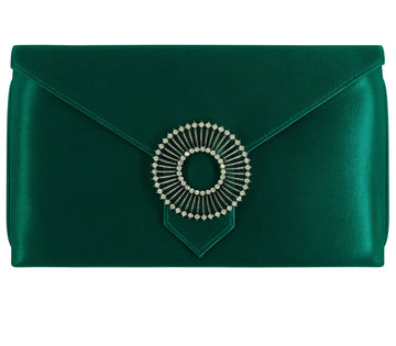 Edith Forest Green Classic Silk Clutch