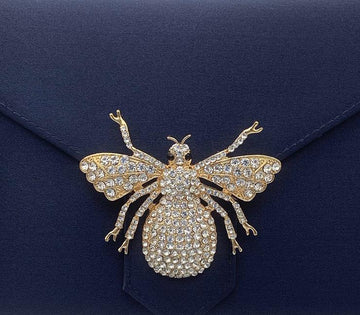Gold Crystal Bee Brooch