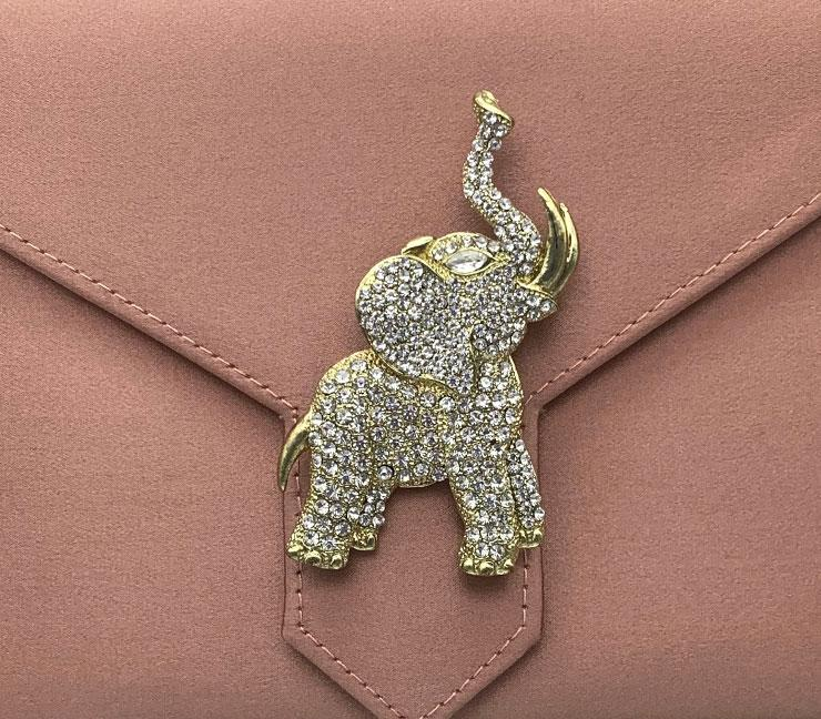 Gold Crystal Elephant Brooch