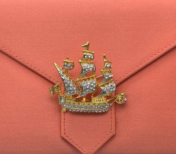 Gold Crystal Galleon Ship Brooch