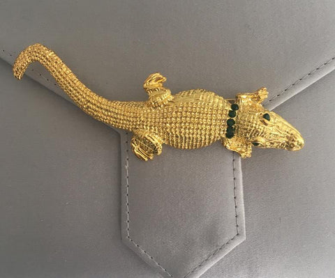 Gold Emerald Crystal Alligator Brooch