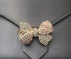 Gold Crystal and Pearl bow tie brooch