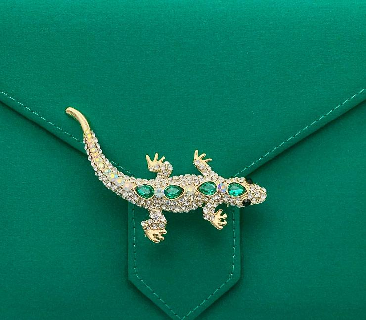 Gold Crystal and Emerald Salamander Brooch