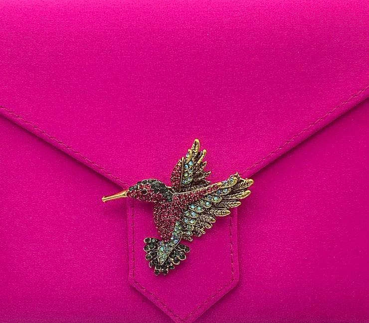 Pink and Green Crystal Hummingbird Brooch